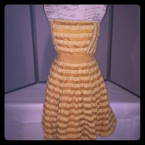 Yellow & gold striped strapless dress The Limited